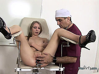 Blond Honey Has Her Cunt Examined By Her Doctor