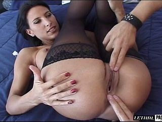 Nice ass brunette in nylon stockings juicy pussy nicely licked