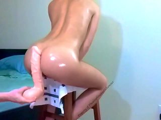 Super Stuffed Fit Asian Growls on Her Monster Dildos - Anal