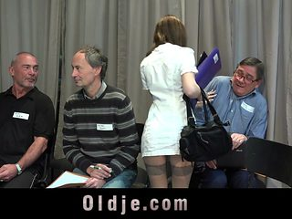 Slutty nurse fucked hard in gangbang meeting of 5 old doctors