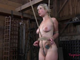 Rope bound sub follows the orders of her mistress