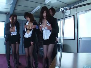 Asian in pantyhose getting spread when throbbed hardcore in group sex