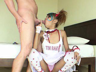 Thai girl teen in high heels has good fuck