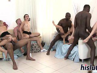 Interracial orgy session with ravishing sluts