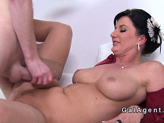 Busty Agent Gets Cum On Her Stomach