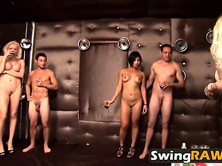 Incredibly Sexy Babes Strip And Fuck In Swinger Foursome