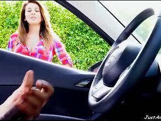 Girl Watching Black Guy Masturbating In Car