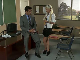 Super sexy Alektra Blue is naughty as she turns her teacher on. she looks awesome in her little s...