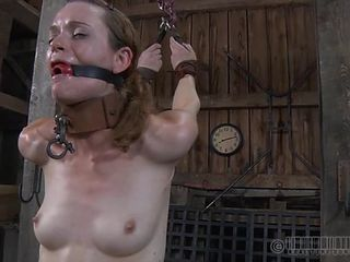 Torn stockings girl abused in his dungeon