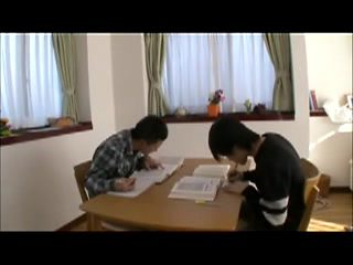 Japanese Mom Cares for Boy before Bed Time -