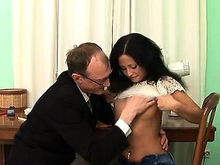 Vicious from behind pounding from horny older teacher