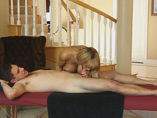 Glorious blonde mom massages pool boy and swallow his dick