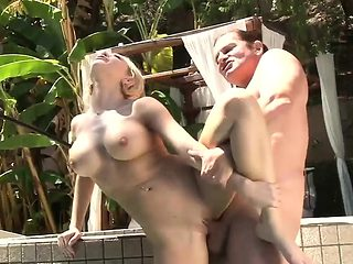Blonde likes to fuck by the pool