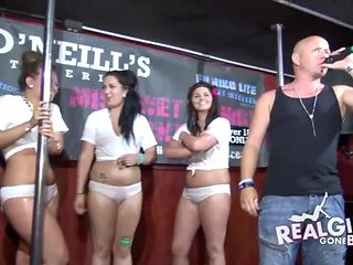 Wet tee shirt and panties fun with curvy party girls