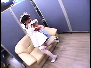 Lovely Japanese teen in stockings gets her tight snatch dri