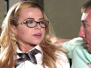 Nerdy blond student Alina West seduces her teacher and fucks like a dirty whore