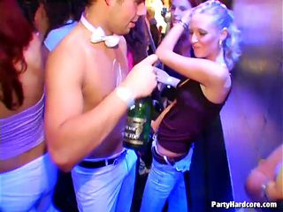 Drunk and cute chicks are in the club having fun and a hot orgy action