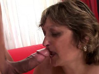 Mature BBW rides on a stiff prick