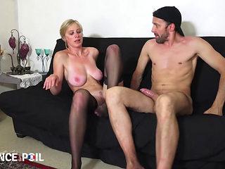 Blonde French Milf Diana In Black Stockings