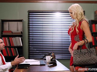 Experienced blonde with perfect tits rides the pecker in the office