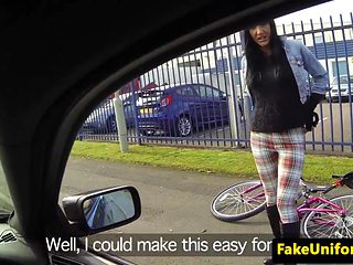 Busty brit bird doggystyled in public by cop
