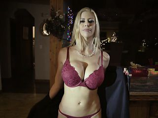 Hot stepmom squirts over stepsons cock during Christmas
