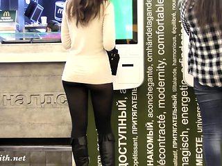 Jeny Smith spy cam public up skirt pantyhose fetish