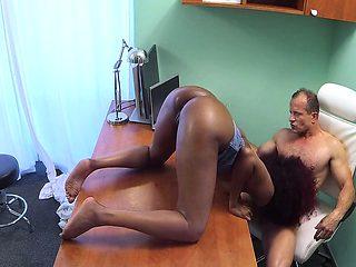 Ebony babe fucks doctor wild