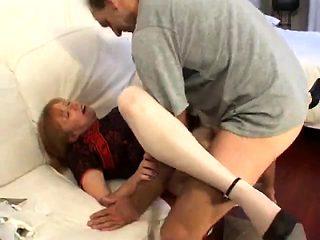 French mature Julia gangbanged in stockings
