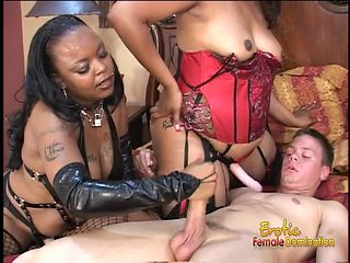 Two chubby ebony harlots have some fun with a horny stallion