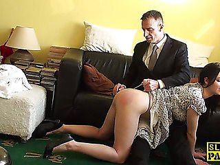 Naughty non-professional spanked