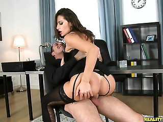 Brunette Sensual Jane with juicy melons and clean cunt has a great desire for face fucking and Ja...