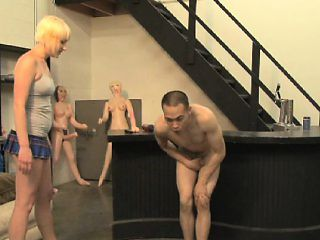 Pretty blonde with lovely tits Nora Skyy ballbusting in the toy store