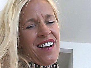 Blonde Mature Slut Gets Creampied