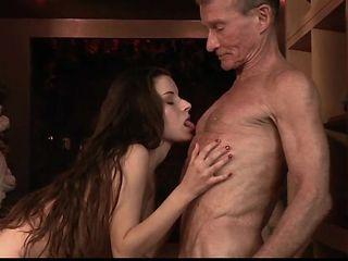 Teen fucks old grandpa blows his dick and eats cum