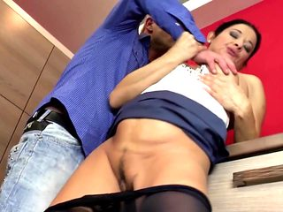 Mature mom eats young cock on red kitchen