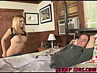 Blonde babe fucks sleeping guy