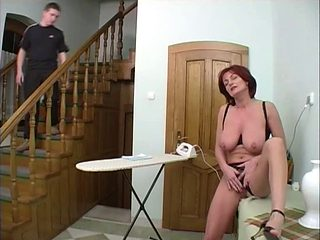 Mature housewife and young boy