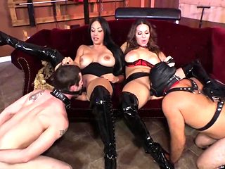 Two Mistress fun with slaves