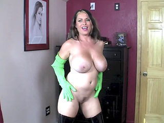 Sexy Bitch In Boots And Gloves Sucking Cock