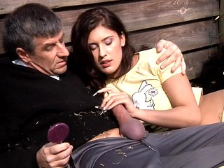 Teen brunette with flawless body fucked by old man at the open air