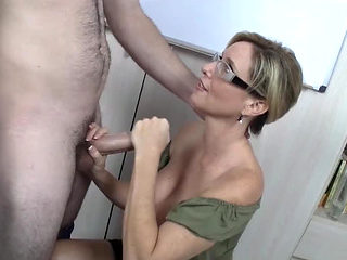Breasty mother I'd like to fuck teacher milks student's dong dry with her marvelous litt...
