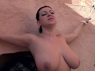 Black haired whorish Aneta J. with enormous juicy knockers and hot curvy body in black stockings ...