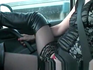 Showing sexy lencery in car