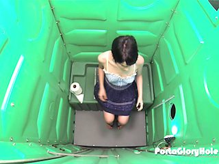 Cuckold waits for his girlfriend in a Porta Potty Gloryhole, once she finishes swallowing