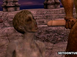 3D cartoon zombie babe getting double teamed outdoors