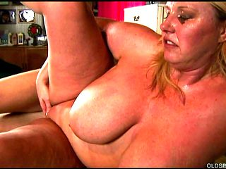 Beautiful big tits blond old spunker enjoys a facial cumshot