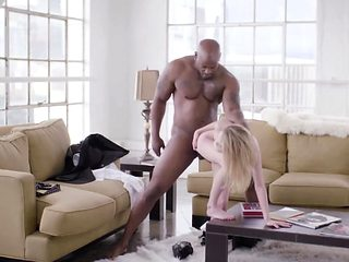Petite blonde pounded with black dick