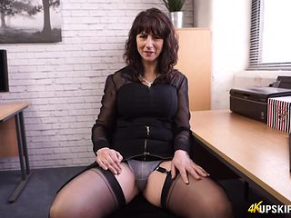 Scandalously short skirt on your hot milf secretary