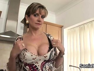 Unfaithful british milf lady sonia presents her enormous tit